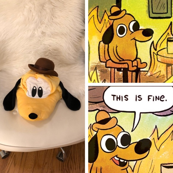 This Is Fine Dog Stuffed Animal, Accessories This Is Fine Dog Meme Costume Hat Poshmark